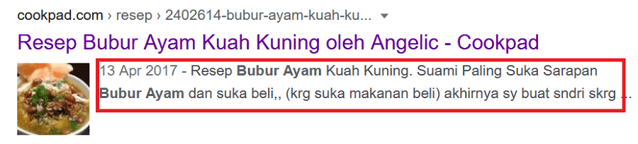 Penempatan keyword di meta description
