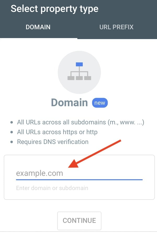 Google Search Console - Isi Domain