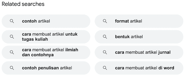 Contoh related searched SERP